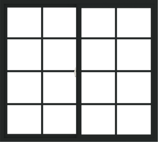 WDMA 60x54 (59.5 x 53.5 inch) Vinyl uPVC Black Slide Window with Colonial Grids Exterior
