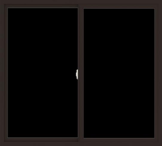 WDMA 60x54 (59.5 x 53.5 inch) Vinyl uPVC Dark Brown Slide Window without Grids Interior