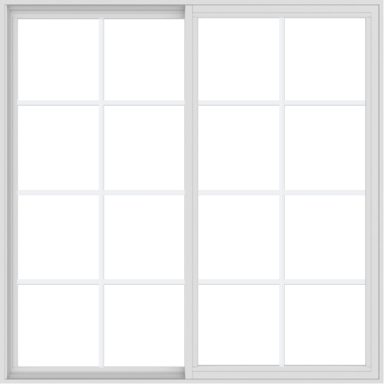 WDMA 60x60 (59.5 x 59.5 inch) Vinyl uPVC White Slide Window with Colonial Grids Exterior