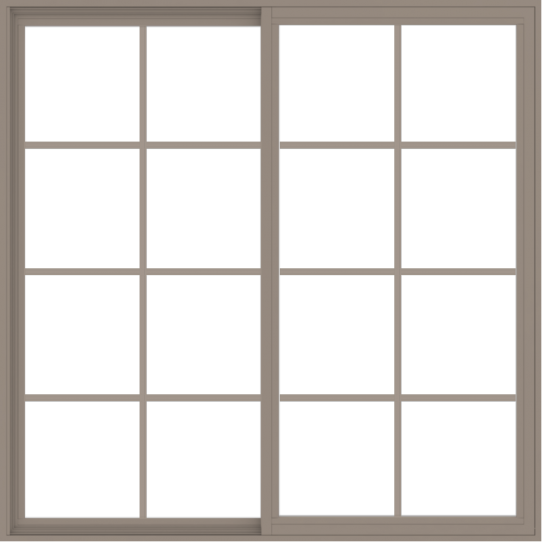 WDMA 60x60 (59.5 x 59.5 inch) Vinyl uPVC Brown Slide Window with Colonial Grids Exterior