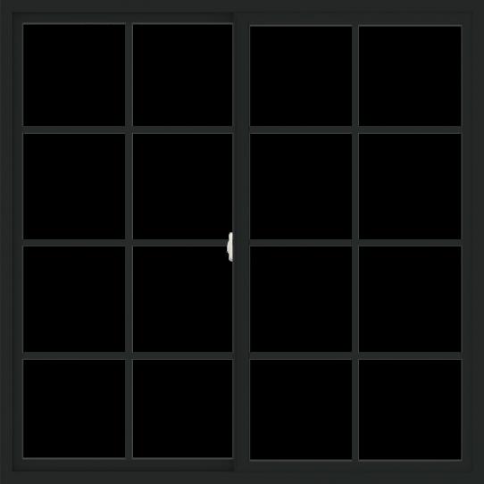 WDMA 60x60 (59.5 x 59.5 inch) Vinyl uPVC Black Slide Window with Colonial Grids Exterior
