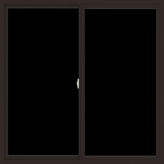 WDMA 60x60 (59.5 x 59.5 inch) Vinyl uPVC Dark Brown Slide Window without Grids Interior