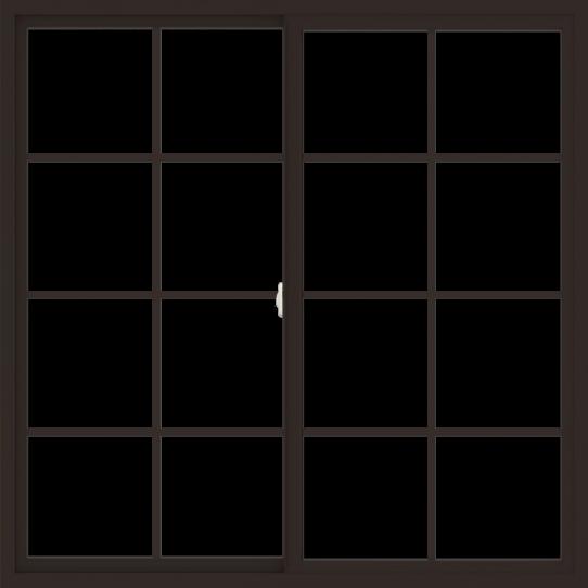 WDMA 60x60 (59.5 x 59.5 inch) Vinyl uPVC Dark Brown Slide Window with Colonial Grids Exterior