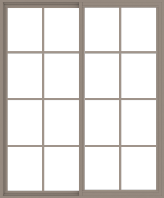 WDMA 60x72 (59.5 x 71.5 inch) Vinyl uPVC Brown Slide Window with Colonial Grids Exterior