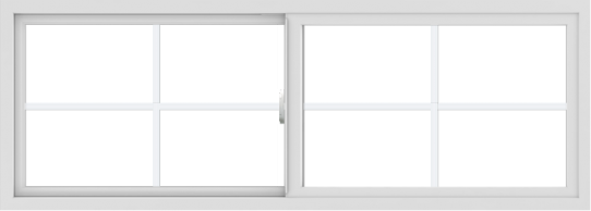 WDMA 66x24 (65.5 x 23.5 inch) Vinyl uPVC White Slide Window with Colonial Grids Exterior
