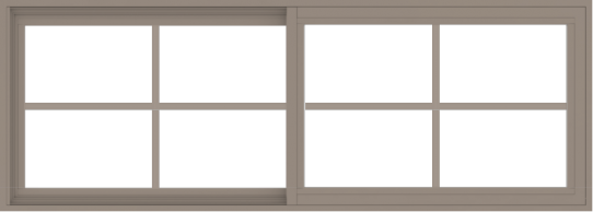 WDMA 66x24 (65.5 x 23.5 inch) Vinyl uPVC Brown Slide Window with Colonial Grids Exterior