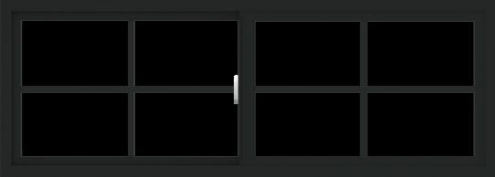 WDMA 66x24 (65.5 x 23.5 inch) Vinyl uPVC Black Slide Window with Colonial Grids Exterior