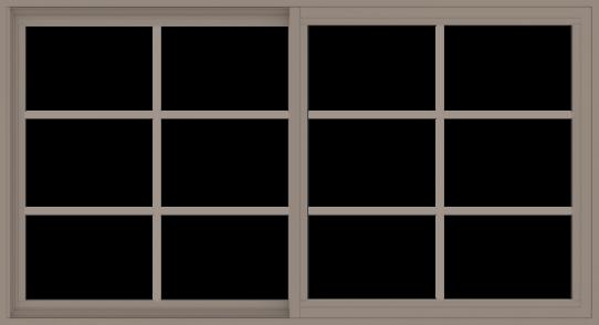 WDMA 66x36 (65.5 x 35.5 inch) Vinyl uPVC Brown Slide Window without Grids Interior