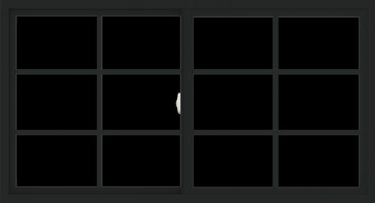 WDMA 66x36 (65.5 x 35.5 inch) Vinyl uPVC Black Slide Window with Colonial Grids Exterior