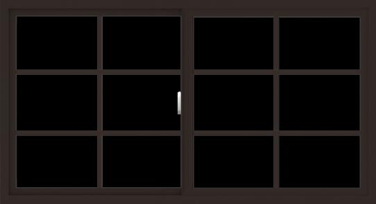 WDMA 66x36 (65.5 x 35.5 inch) Vinyl uPVC Dark Brown Slide Window with Colonial Grids Exterior