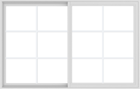 WDMA 66x42 (65.5 x 41.5 inch) Vinyl uPVC White Slide Window with Colonial Grids Exterior