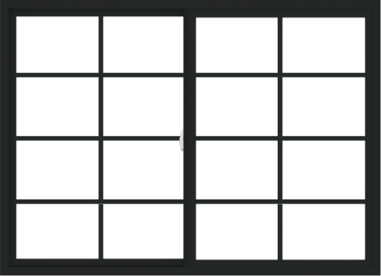 WDMA 66x48 (65.5 x 47.5 inch) Vinyl uPVC Black Slide Window with Colonial Grids Exterior