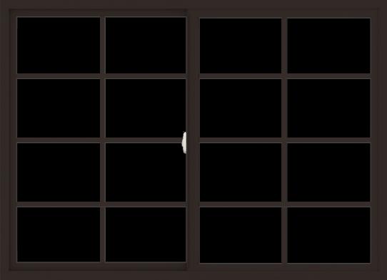 WDMA 66x48 (65.5 x 47.5 inch) Vinyl uPVC Dark Brown Slide Window with Colonial Grids Exterior