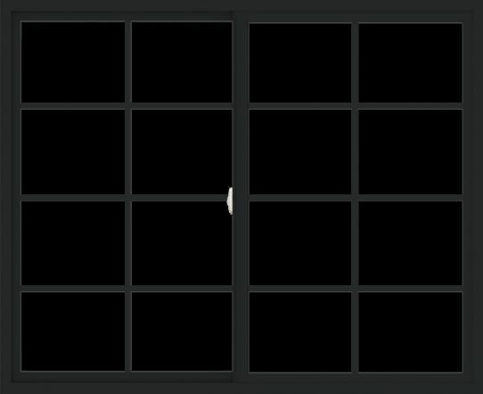 WDMA 66x54 (65.5 x 53.5 inch) Vinyl uPVC Black Slide Window with Colonial Grids Exterior