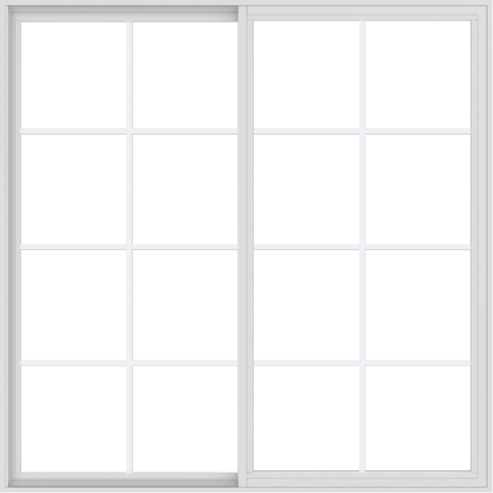 WDMA 66x66 (65.5 x 65.5 inch) Vinyl uPVC White Slide Window with Colonial Grids Exterior