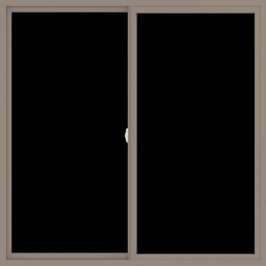 WDMA 66x66 (65.5 x 65.5 inch) Vinyl uPVC Brown Slide Window without Grids Interior