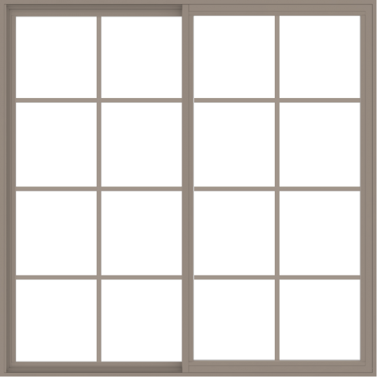 WDMA 66x66 (65.5 x 65.5 inch) Vinyl uPVC Brown Slide Window with Colonial Grids Exterior