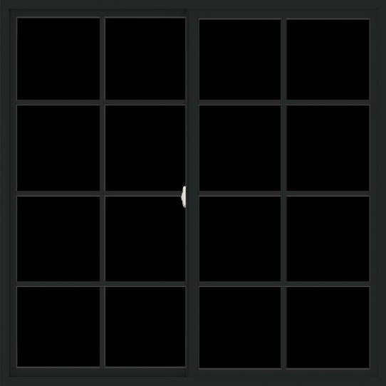 WDMA 66x66 (65.5 x 65.5 inch) Vinyl uPVC Black Slide Window with Colonial Grids Exterior