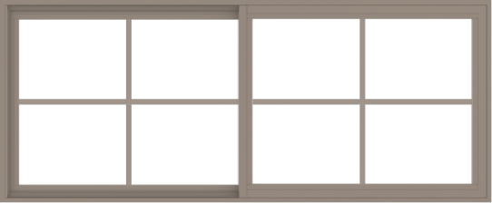 WDMA 72x30 (71.5 x 29.5 inch) Vinyl uPVC Brown Slide Window with Colonial Grids Exterior