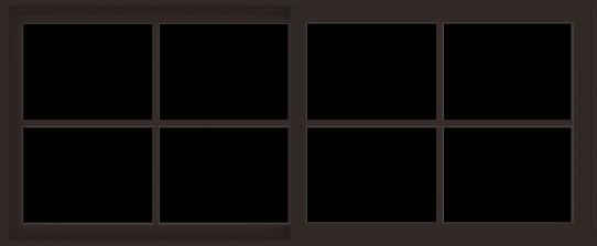 WDMA 72x30 (71.5 x 29.5 inch) Vinyl uPVC Dark Brown Slide Window with Colonial Grids Exterior