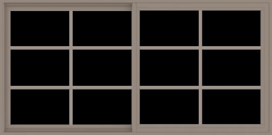 WDMA 72x36 (71.5 x 35.5 inch) Vinyl uPVC Brown Slide Window without Grids Interior