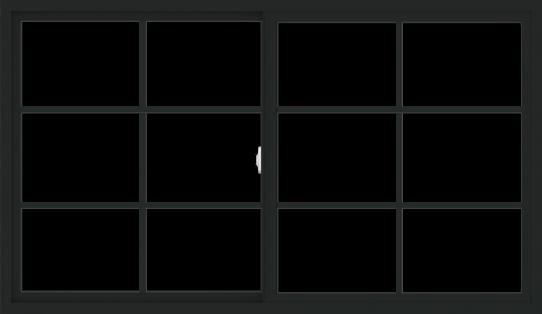 WDMA 72x42 (71.5 x 41.5 inch) Vinyl uPVC Black Slide Window with Colonial Grids Exterior