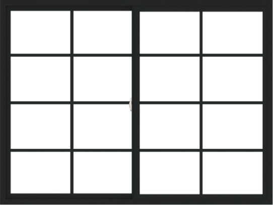 WDMA 72x54 (71.5 x 53.5 inch) Vinyl uPVC Black Slide Window with Colonial Grids Exterior