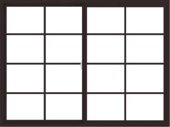 WDMA 72x54 (71.5 x 53.5 inch) Vinyl uPVC Dark Brown Slide Window with Colonial Grids Exterior