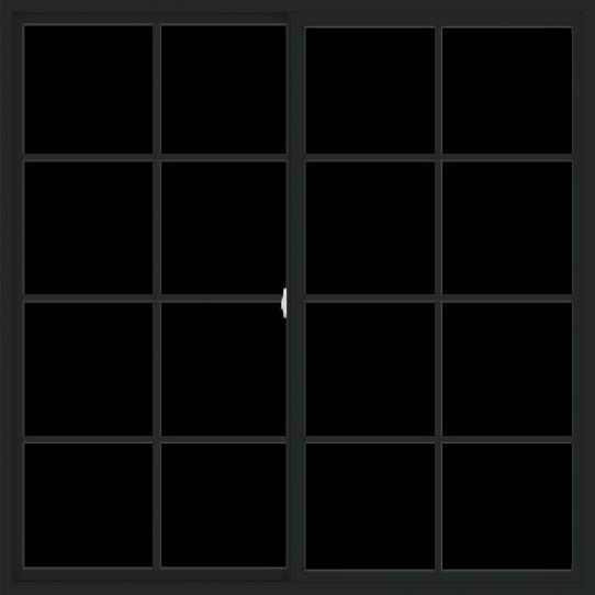 WDMA 72x72 (71.5 x 71.5 inch) Vinyl uPVC Black Slide Window with Colonial Grids Exterior