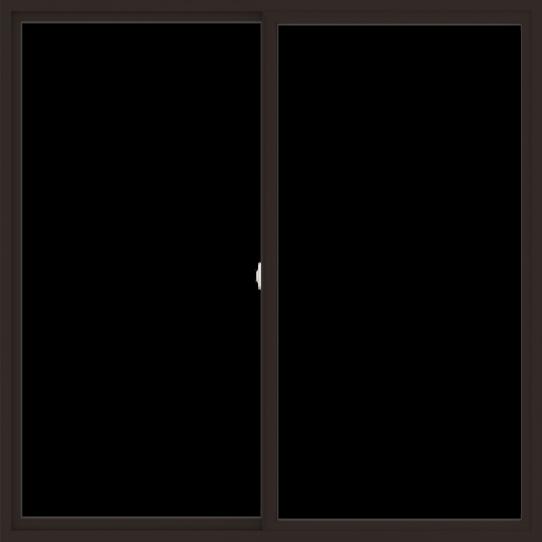 WDMA 72x72 (71.5 x 71.5 inch) Vinyl uPVC Dark Brown Slide Window without Grids Interior