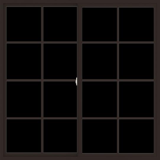 WDMA 72x72 (71.5 x 71.5 inch) Vinyl uPVC Dark Brown Slide Window with Colonial Grids Exterior