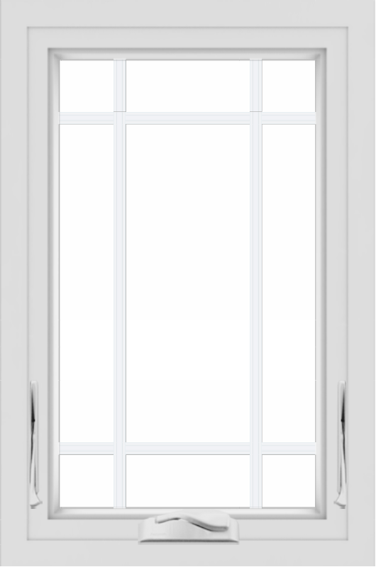 WDMA 24x36 (24.5 x 36.5 inch) White uPVC/Vinyl Crank out Awning Window with Prairie Grilles