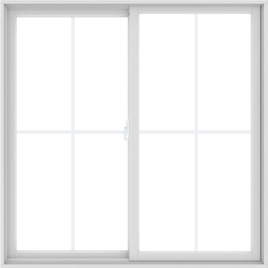 WDMA 60X60 (59.5 x 59.5 inch) White uPVC/Vinyl Sliding Window with Colonial Grilles
