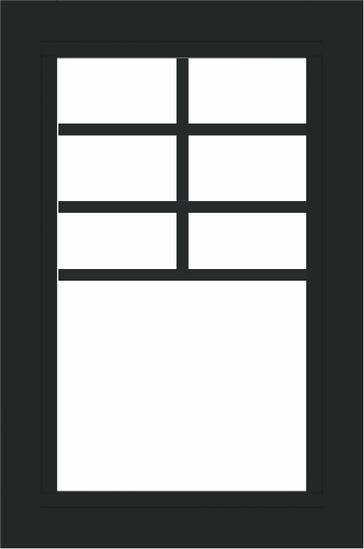WDMA 24x36 (23.5 x 35.6 inch) black uPVC/Vinyl Picture Window with Top Colonial Grids Interior