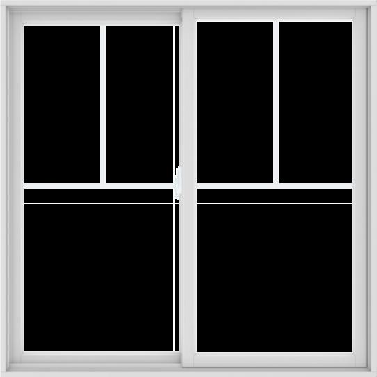 WDMA 60X60 (59.5 x 59.5 inch) White uPVC/Vinyl Sliding Window with Fractional Grilles