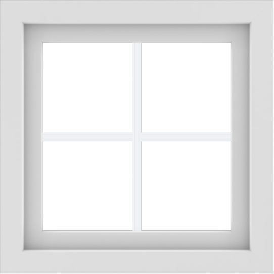 WDMA 24x24 (23.5 x 23.5 inch) White uPVC/Vinyl Picture Window with Colonial Grilles