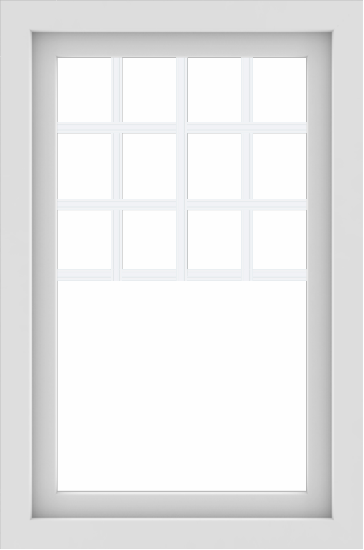 WDMA 24x36 (23.5 x 35.5 inch) black uPVC/Vinyl Picture Window with Top Colonial Grids Interior