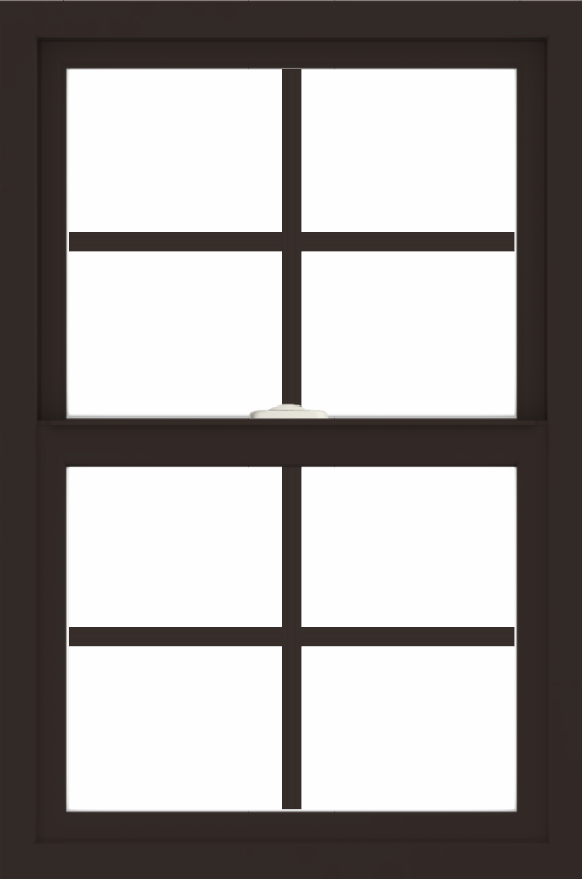 WDMA 24x36 (23.5 x 35.5 inch) Dark Bronze aluminum Single and Double Hung Window with Colonial Grilles