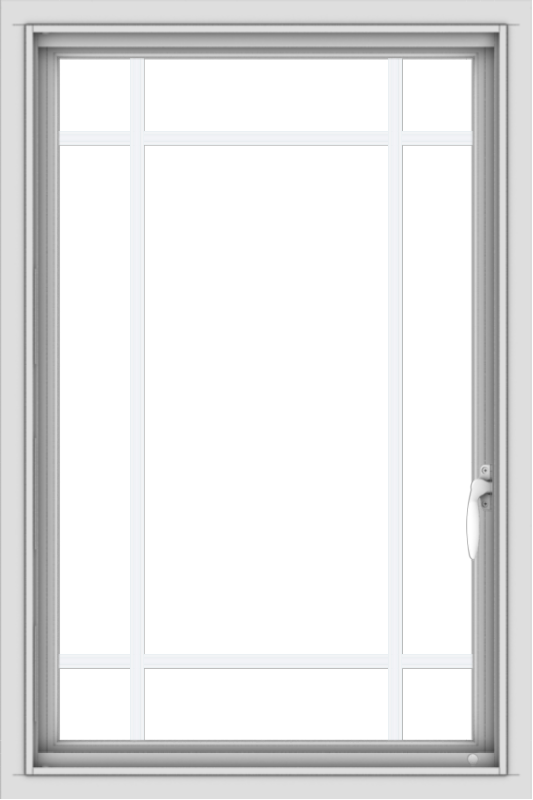 WDMA 24x36 (23.5 x 35.5 inch) black uPVC/Vinyl Push out Casement Window with Prairie Grilles Interior