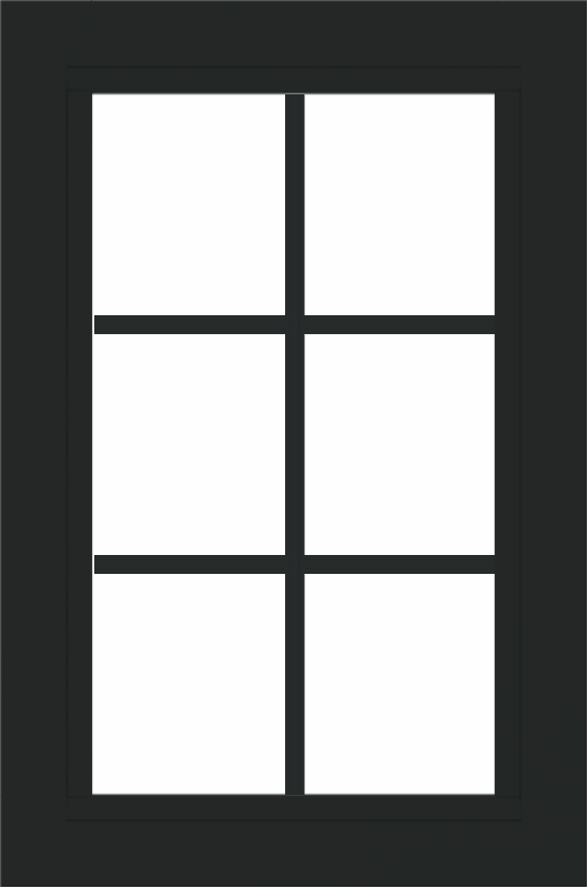 WDMA 24x36 (23.5 x 35.5 inch) black uPVC/Vinyl Picture Window with Colonial Grilles Exterior