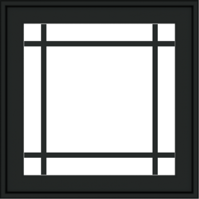 WDMA 24x24 (23.5 x 23.5 inch) black uPVC/Vinyl Crank out Awning Window with Prairie Grilles Exterior