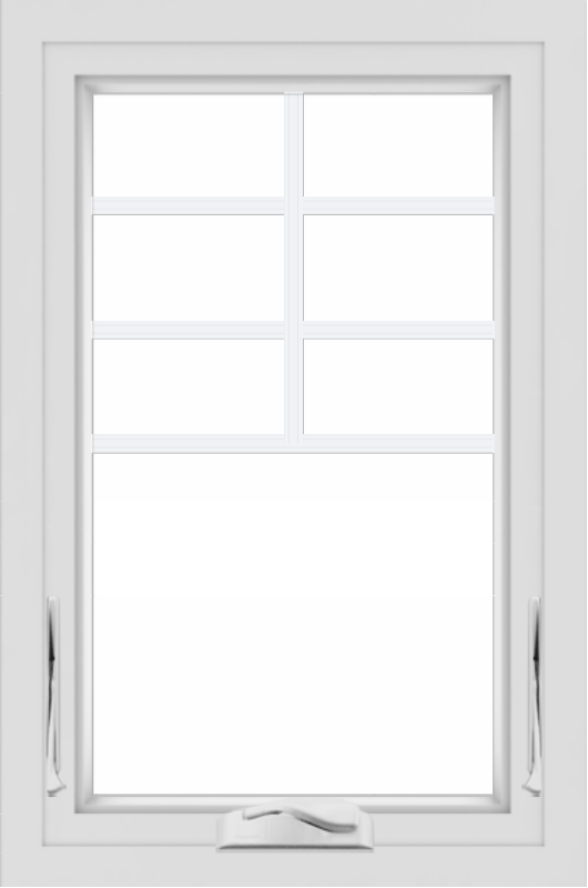 WDMA 24x36 (24.5 x 36.5 inch) White uPVC/Vinyl Crank out Awning Window with Top Colonial Grids