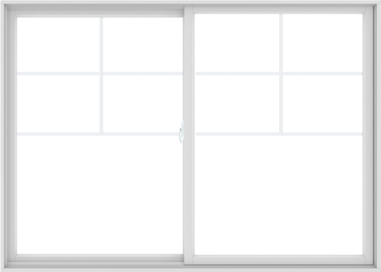 WDMA 84X60 (83.5 x 59.5 inch) White uPVC/Vinyl Sliding Window with Top Colonial Grids Grilles