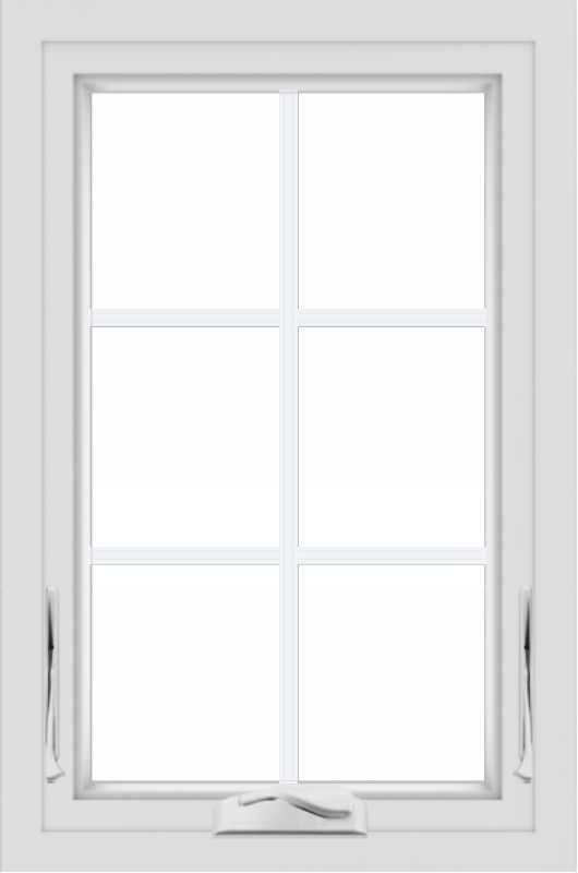 WDMA 24x36 (24.5 x 36.5 inch) White uPVC/Vinyl Crank out Awning Window with Colonial Grilles