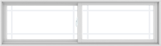 WDMA 84X24 (83.5 x 23.5 inch) White uPVC/Vinyl Sliding Window with Prairie Grilles