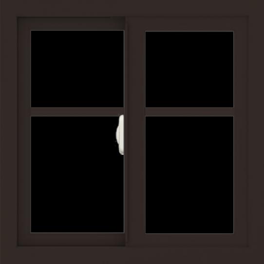 WDMA 24x24 (23.5 x 23.5 inch) Dark Bronze Aluminum Slide Window with Fractional Grilles