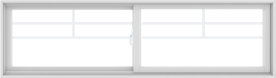WDMA 84X24 (83.5 x 23.5 inch) White uPVC/Vinyl Sliding Window with Top Colonial Grids Grilles