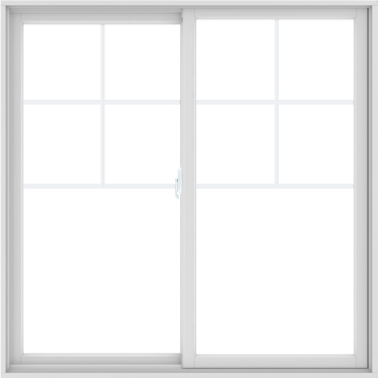 WDMA 60X60 (59.5 x 59.5 inch) White uPVC/Vinyl Sliding Window with Top Colonial Grids Grilles