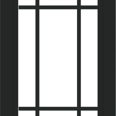 WDMA 24x36 (23.5 x 35.5 inch) black uPVC/Vinyl Picture Window with Prairie Grilles Interior
