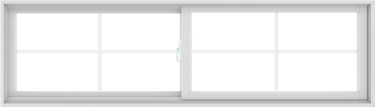 WDMA 84X24 (83.5 x 23.5 inch) White uPVC/Vinyl Sliding Window with Colonial Grilles